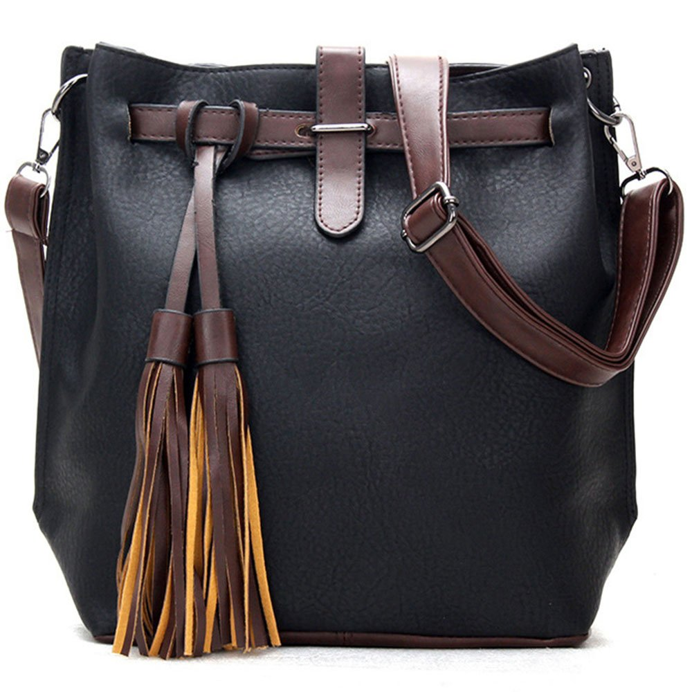 fb8ad297f0dfb5 European and American fashion tassel bucket bag ladies handbag shoulder  slung retro bag (Black): Handbags: Amazon.com