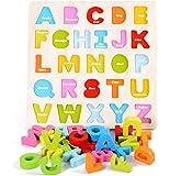 Lewo de madera ABC alfabeto Puzzle Junta educativo preescolar juguetes Stand Up see-inside Set