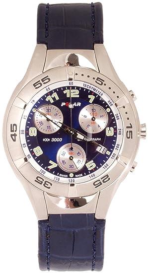 Polar POLAR eXe 3000 Blau mit Lederarmband 90024120 - Reloj cronógrafo de caballero de cuarzo con