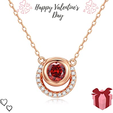 b69f4faad30 Women Necklace 925 Sterling Silver 18K Pendant Garnet Ladies Fine Jewellery  Accessories Birthday Anniversary Xmas Presents with Gushion Gift Box-HON02  Rose ...