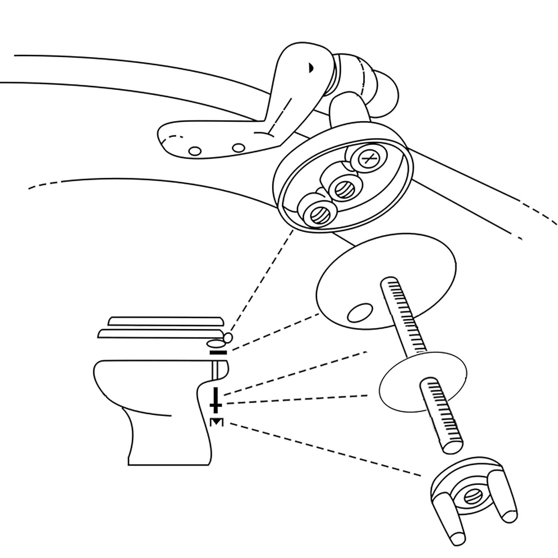 LYTIVAGEN/1/Paire de Charniere WC Argent Charni/ère Fixation WC WC Fixations Remplacement avec fixations Vis pour la Fixation du Couvercle de Toilette