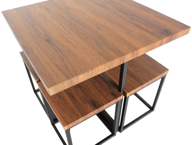 Yelloo mod. assisi set tavolo bar e 4 sgabelli marrone sedie mobili