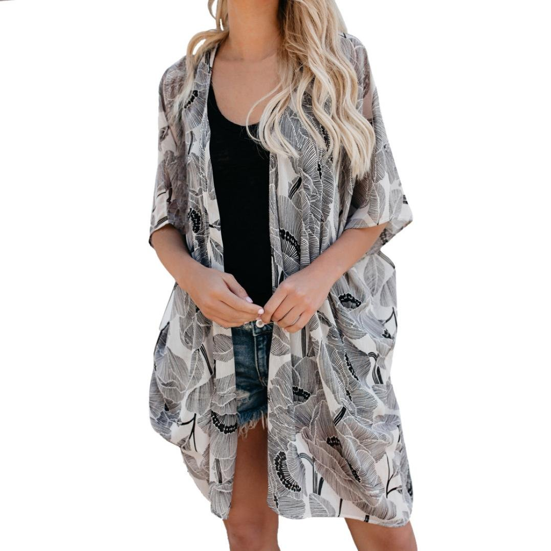 067a8df59ab7 Top11: Women Fashion Long Sleeve Floral Leopard Print Cardigan Kimono Long  Chiffon Robe Coat Beach Cover Up Blouse Tops (L, Gray)