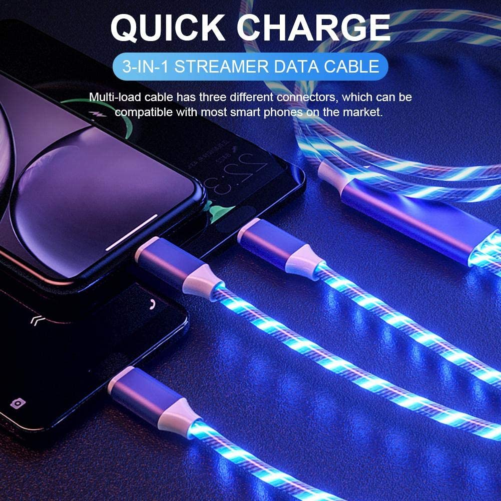 Pleasay Magnetic USB Charging Cable Streamer Data Line 3 in 1 Data Cable Fast Charging 360 Degree Data Line Creative Colorful Streamer Magnetic Data Line for Android//iOS//Type C Phone
