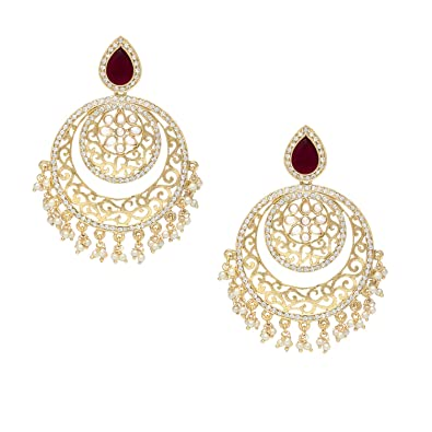 cb6f79771 Buy Stylepotion Ethnic Mughal Era 22K Gold Colour Plated with Ruby Red  Stone American Diamonds Kundan Pearl Chandbali Earrings for Women Online at  Low ...