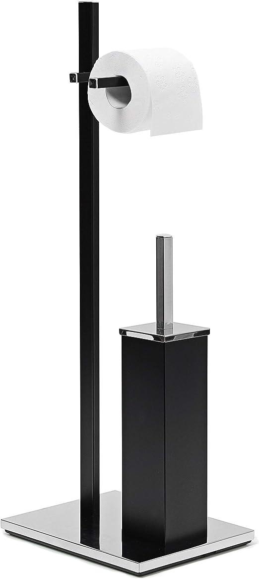 Relaxdays Color Negro 73 x 21.5 x 27.5 cm Cuarto de ba/ño 2.8 Kg Portarrollos con escobillero Acero Cromado