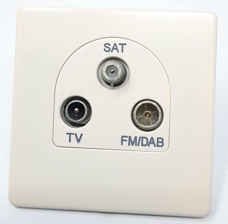 Enchufe triple para sat/élite Deta 8594WHW TV-FM DAB inserci/ón blanca color blanco
