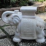 International Caravan VHO16A-C-LG-WW-IC Furniture Piece Large Porcelain Elephant Stool