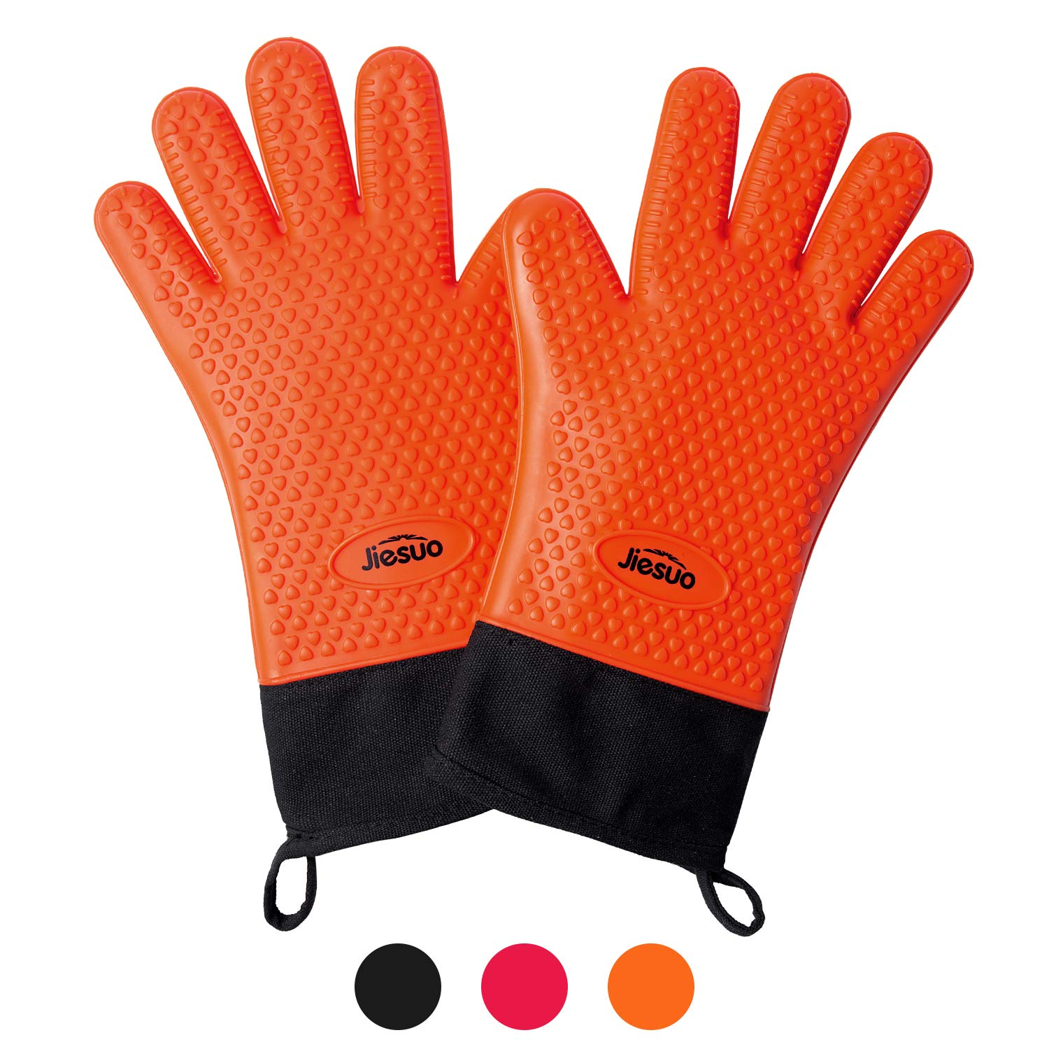 JIESUO Silicone BBQ Gloves Grill Mitts, Heat Resistant Cooking Gloves for Grilling, FDA Grade Waterproof Oven Mitts