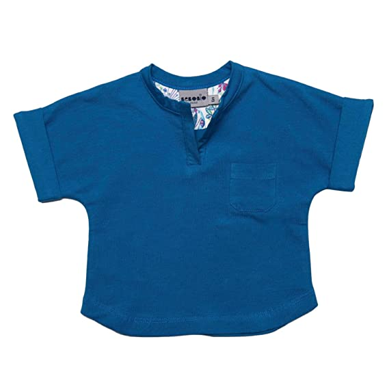 bebobio – Camiseta Bebé Manga Corta (algodón ecológico), azul Río azul azul Talla