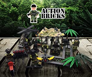 Army Men Minifigures Special Forces Brick Army Men Set of Minifigures Toys Military Army Men Toys War Soldiers Action Figures Tank Motorcycle Plastic Weapons Soldier (Gorilla Warfare)