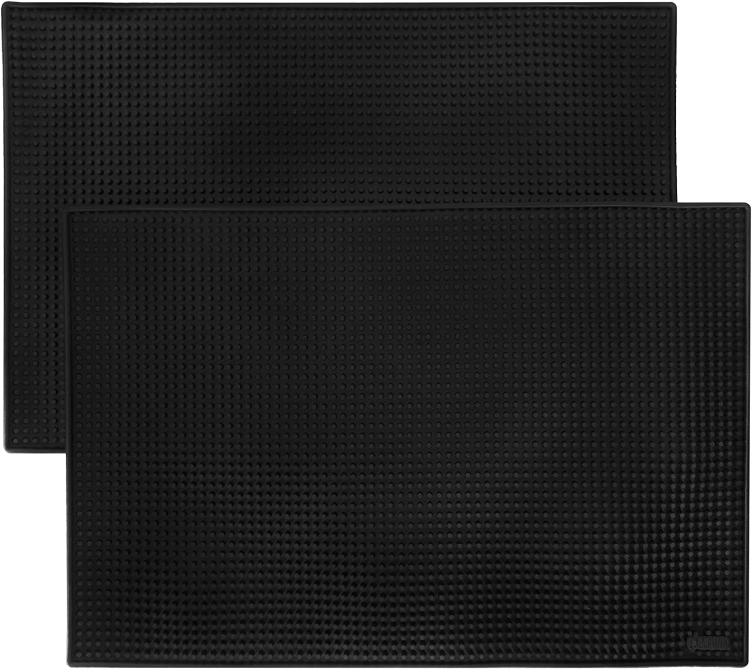 "18"" x 12"" Black Bar Mats, 2-pack - Professional Bartender's Non-Slip Drink Cocktail Mixing Service Mat - Accessories for Industrial & Home Kitchen, Bartops, Coffee Bars, Food Trucks, Restaurants"