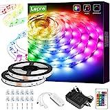 Lepro 10M tiras de luces RGB con música, tira LED 5050 SMD 12V 24 teclas Cinta LED autoadhesivas, Strip Tira para TV…