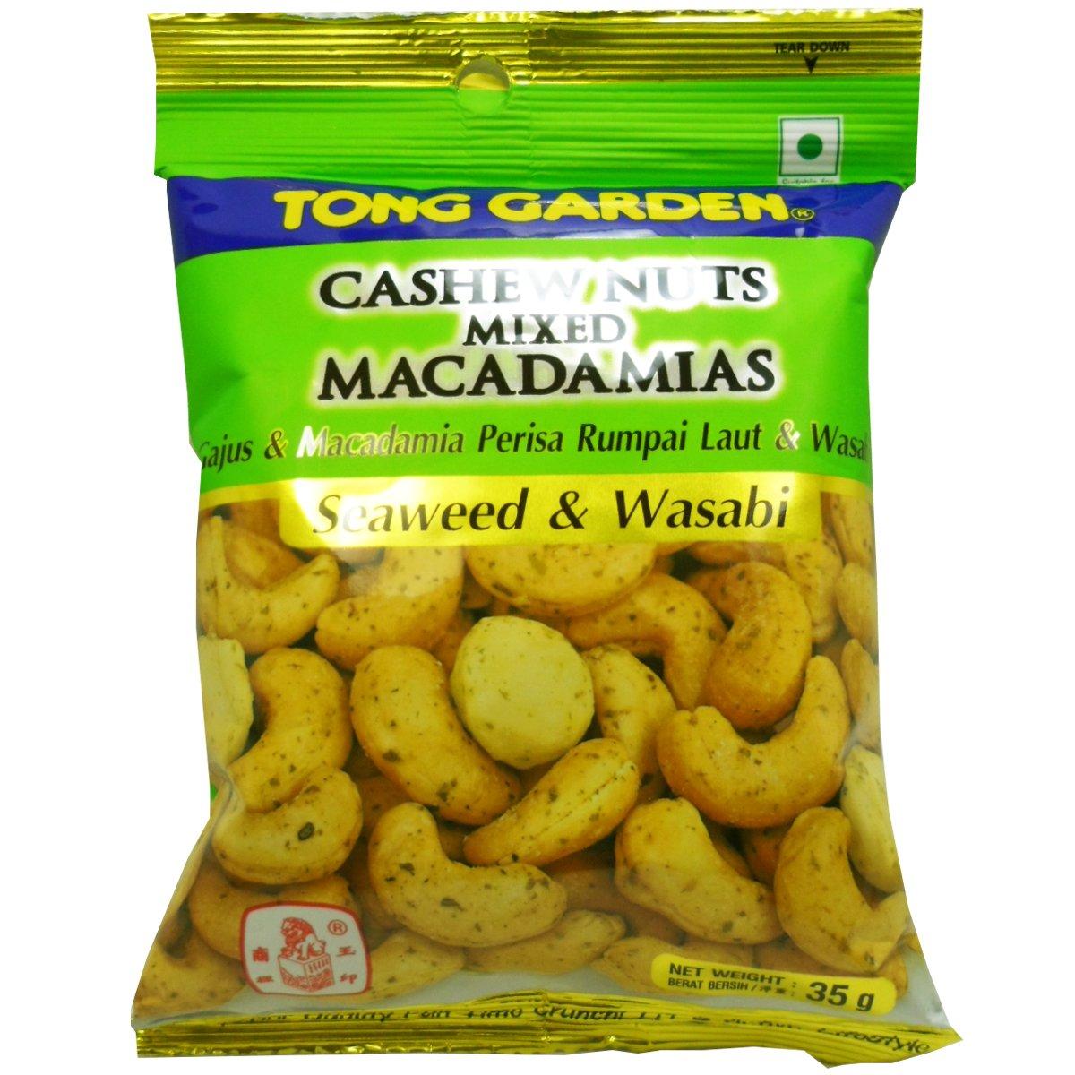 Crispy Cashew Nuts Mixed Macadamias Snack Seaweed & Wasabi Flavoured Net Wt 35 G (1.23 Oz.) Tong Garden Brand X 2 Bags