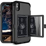 Defender Wallet Design with Hidden Back Mirror and Card Holder Heavy Duty Protection Shockproof 3 in 1 All-Round Armor Protective Case for iPhone Xs Max (Black)