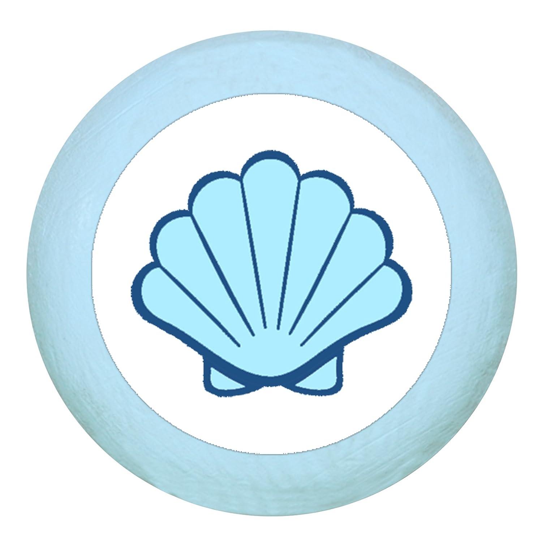Türknauf Möbelknopf Möbelgriff Möbelknauf Jungen hellblau dunkelblau blau Massivholz Buche - Kinder Kinderzimmer Muschel maritim - dunkelblau Traum Kind