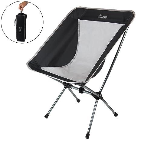 ALPIDEX Silla Camping Plegable Ultraligera - Solo 930 g, soporta hasta 180 kg - Inclusive Bolsa de Transporte y mosquetón