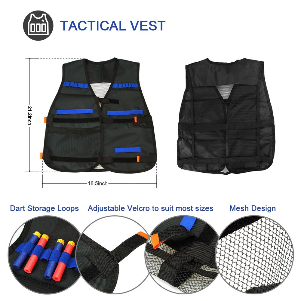 INKERSCOOP Kids Tactical Vest Kit for Nerf Guns N-Strike Elite Series,with 60 Pcs Refill Darts, 2 x 12-Reload Clips, 1 x 6-Reload Clip, 1 Face Tube Mask, 2 Hand Wrist Band and 1 Protective Glasses