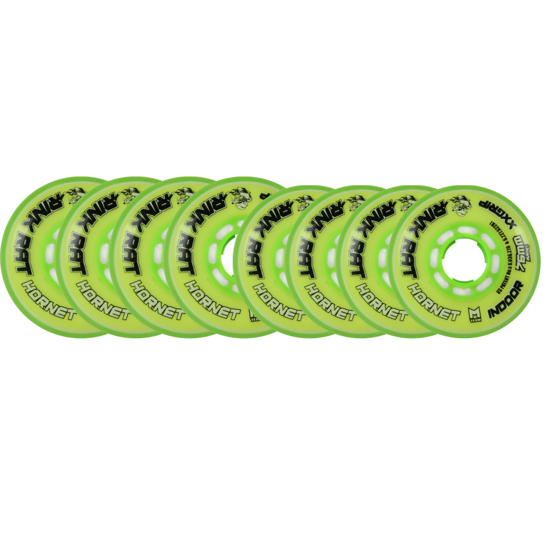 Rink Rat Wheels 80mm/76mm HILO 78a HORNET Yellow/Green Inline Indoor Hockey