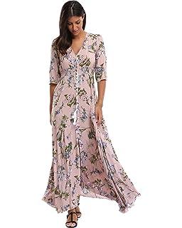 8c94ef1984c Summer Floral Print Maxi Dress Women Button Up Split Long Flowy Bohemian  Beach Party Dresses