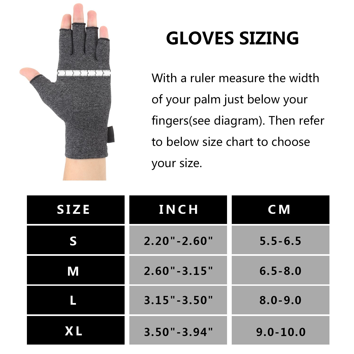 Arthritis Gloves 2 Pairs, Compression Gloves Support and Warmth for Hands, Finger Joint, Relieve Pain from Rheumatoid, Osteoarthritis, RSI, Carpal Tunnel, Tendonitis, Women and Men (Gray, Large) by Brace Master (Image #3)