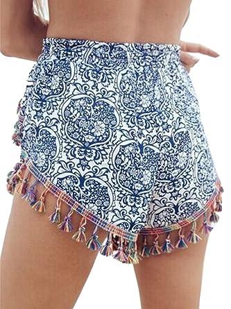 YUNY Women High Waisted Boho Tassel Shorts Beach Pants at Amazon Women s  Clothing store  79c96864e21