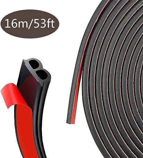 Protecteur de bord de porti/ère de voiture 16 pieds 5 m Protecteur de joint en caoutchouc de garniture de bord de voiture avec la forme de U(noir)