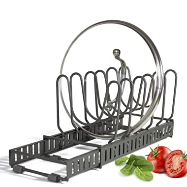 """Expandable Lid Holder with 10 Adjustable Dividers: Store 9+ Lids, Separable into 2 Organizers, Can Be Extended to 22.25"""", Kitchen Cookware Pan Pot Lid Organizer Rack Pantry"""