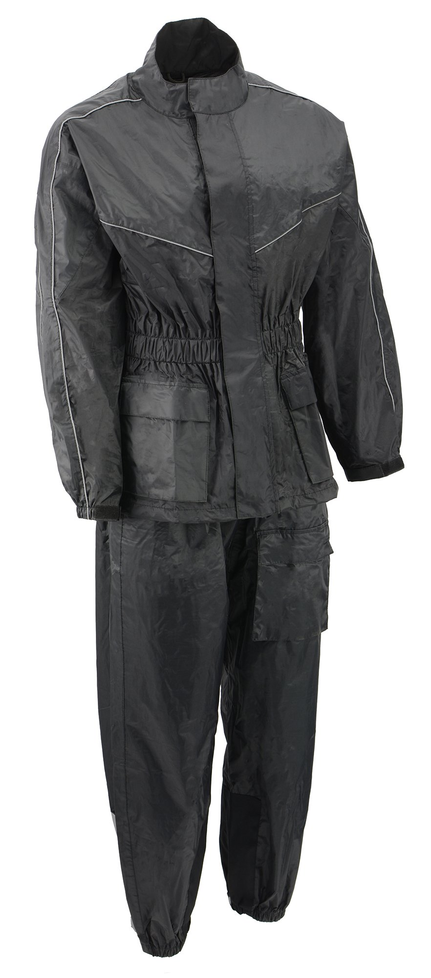 M-BOSS MOTORCYCLE APPAREL-BOS29601-BLK/BLK-Unisex's two piece motorcycle rain gear.-BLK/BLK-X-LARGE