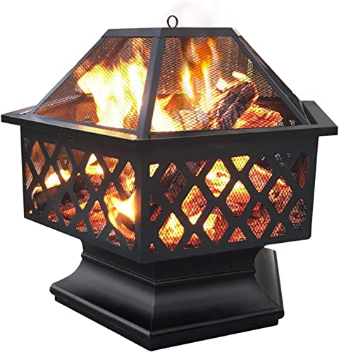 Yaheetech Hexagon Fire Pit Fireplace Portable Firepit Iron Brazier Wood Burning Coal Pit Hex Shaped Fire Bowl Stove