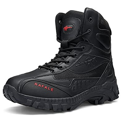 fbedb7805 FKMI Mens Hiking Boots Military Tactical Combat Boots Womens Trekking Shoes  with Side Zip High Top Walking Climbing Sneakers  Amazon.co.uk  Shoes   Bags