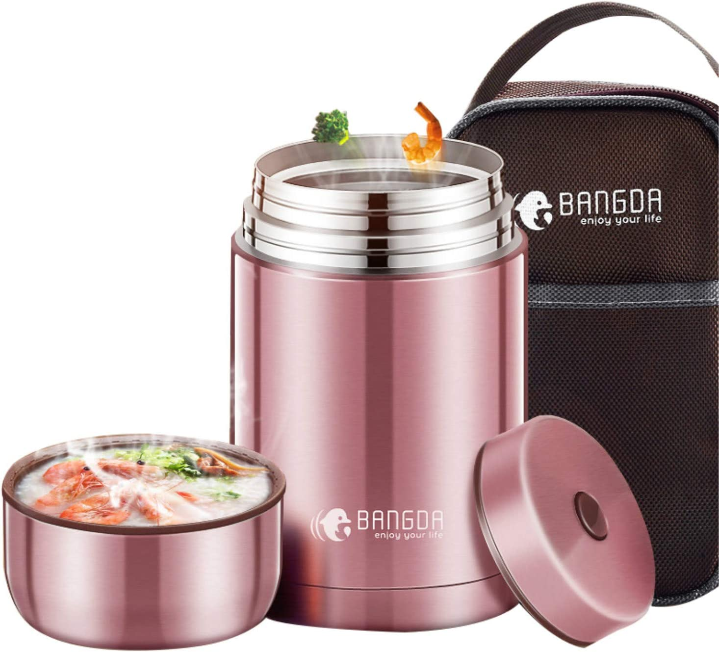 AoAo Vacuum-Insulated Food Flask, Stainless Steel Thermos Jar Stew Cup Containers Lunch Box - Keep Warm for 12 Hours(Pink) (800ml)
