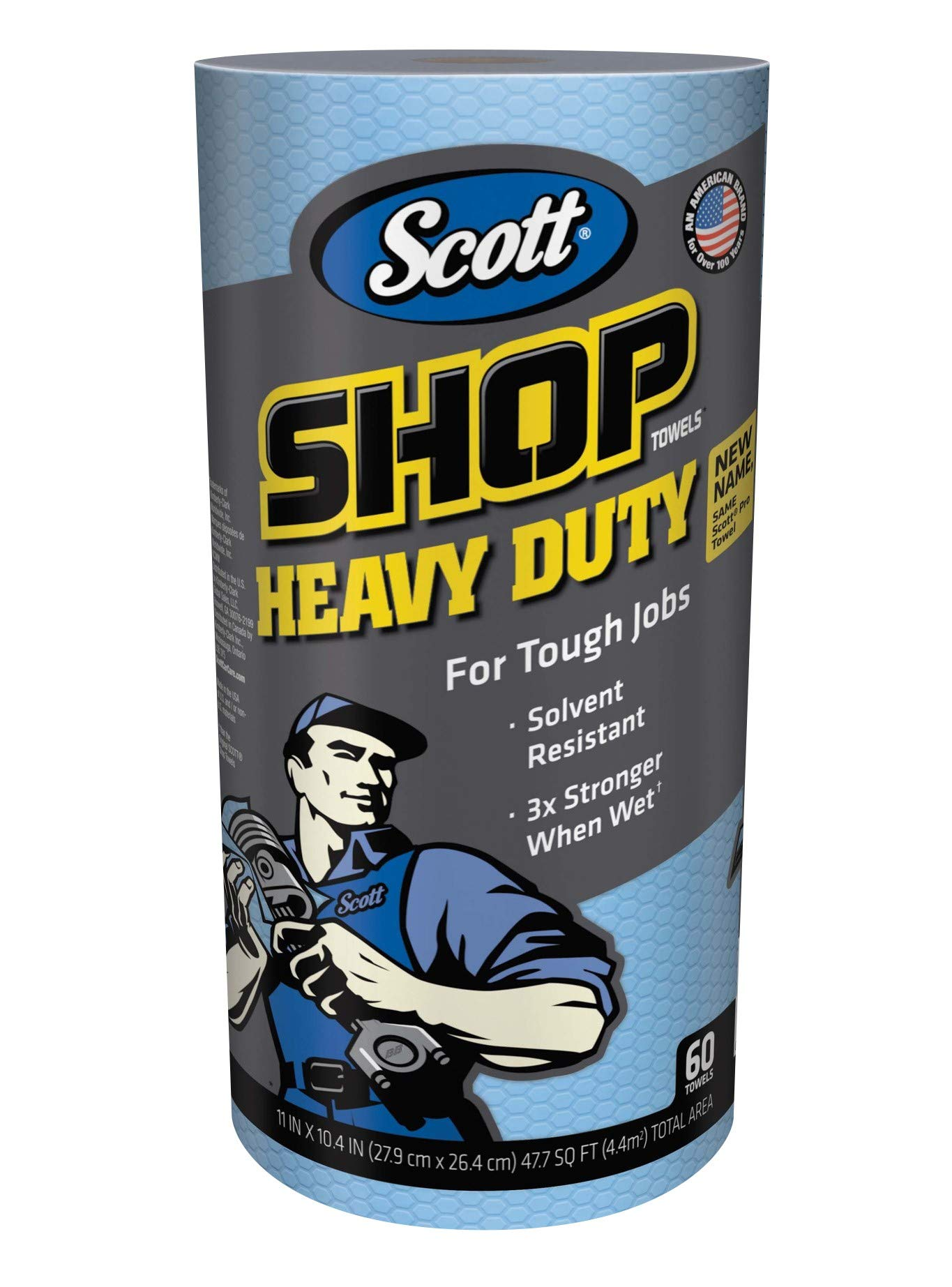 Scott Shop Towels Heavy Duty (32992), Blue Shop Towels for Solvents & Heavy-Duty Jobs, 60 Sheets / Roll, 720 Sheets / Case  (Pack of 12) by Scott