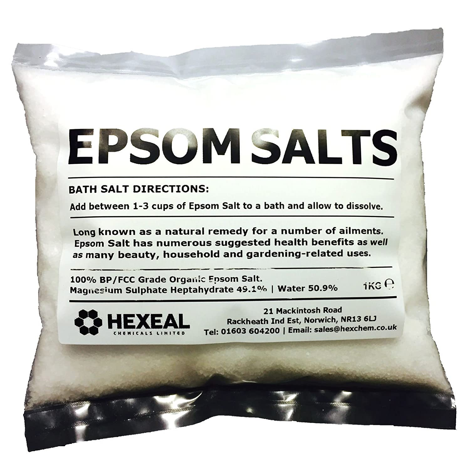 EPSOM SALT | 1KG BAG | 100% Natural | FCC Food Grade | Magnesium Sulphate Kali-GmbH