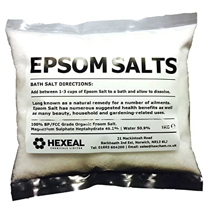 Epsom sales de baño | 1 kg Bolsa | 100% orgánico | FCC de calidad