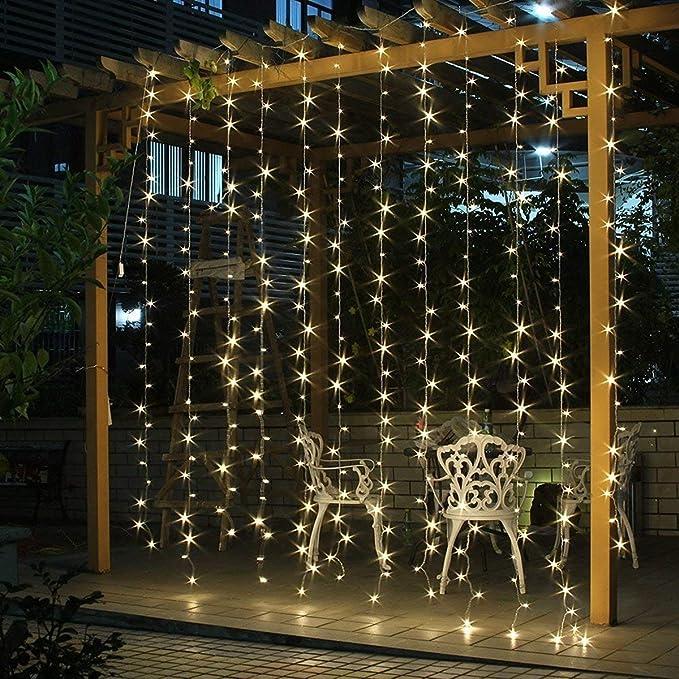 Salcar Cortina de luces LED, 6 * 3m LED cadena, impermeable 600 LED tira para sala de estar, jardín, terraza, fondo de TV, patio, etc. - Blanco cálido: Amazon.es: Iluminación