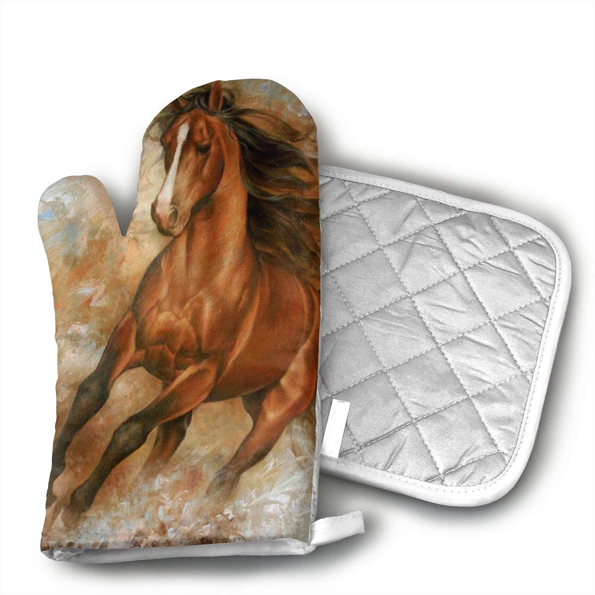 CASM Oil Painting Horse Premium Terylene/Nylon Oven Mitts and Pot mat,Pot mat/Hot Pads, Heat Resistant Gloves BBQ Kitchen