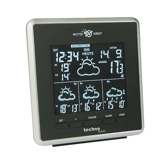 Technoline WD 4025 Wetterdirekt Wetterstation mit Innen- und Außentemperaturanzeige sowie Wettervorhersage für 4 Tage schwarz