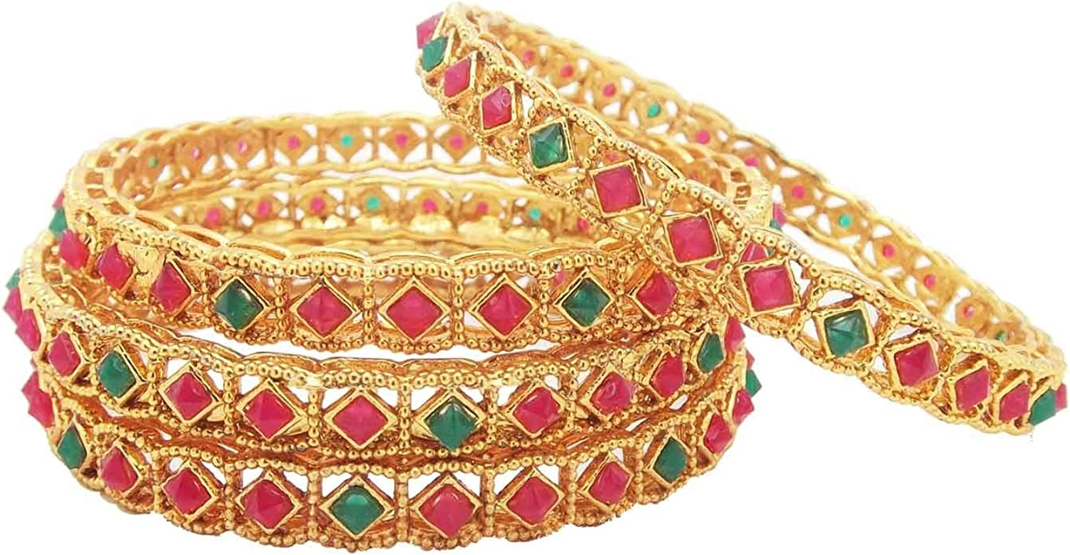 00114-209 Biyu Filligree Collection Red Green Stone Gold Plated 4pc Bangle