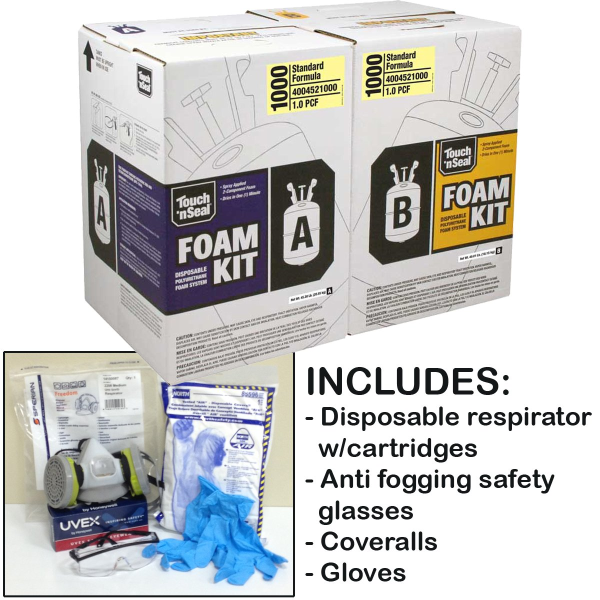 Touch n' Seal U2 1000BF 1.0 PCF Fire Retardant Open Cell Polyurethane Spray Foam Insulation Kit-with *BONUS* Protective Gear (Regular Gear)