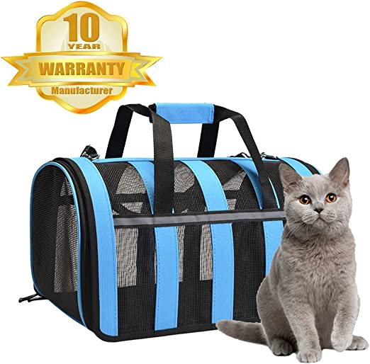 Portador de gato - Transporte portátil de viajes para mascotas - Portador de animales pequeños, aprobado para avión, perfecto para perros pequeños, gatos, aves, conejos y hurones: Amazon.es: Productos para mascotas