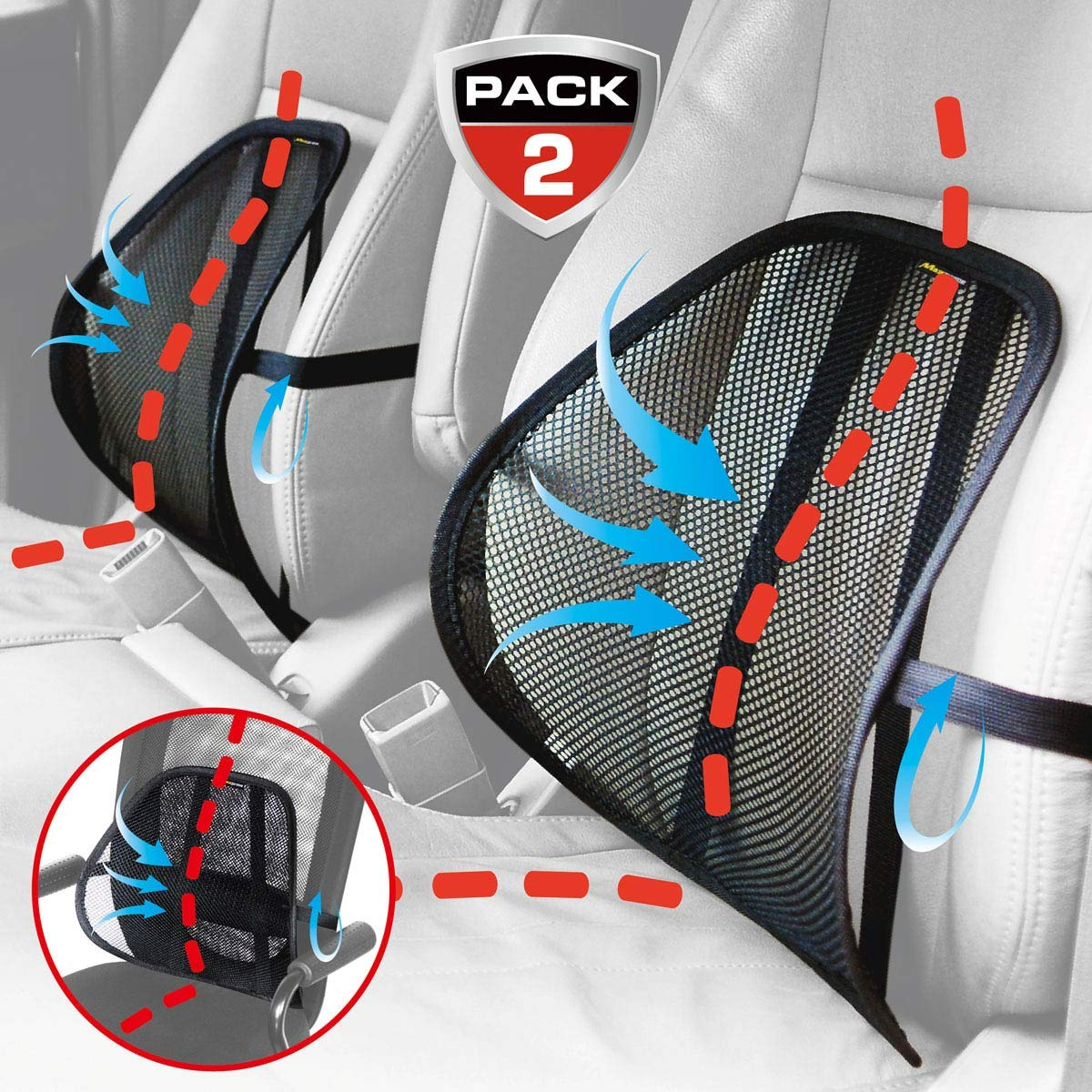 MAXXPRIME, Lumbar Support, Maxxprime Mesh Back Cushion 2 Pack Lower Back Support, Double Mesh Lumbar Cushion Air Flow Breathable Back Support Cushion for Use in Car Home and Office,Black by MAXXPRIME
