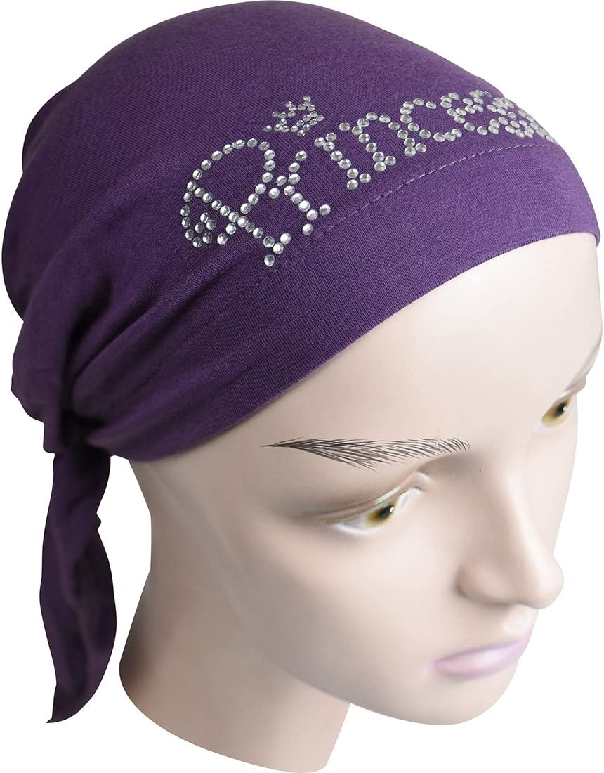 Princess Applique Childs Pretied Headscarf-Brown