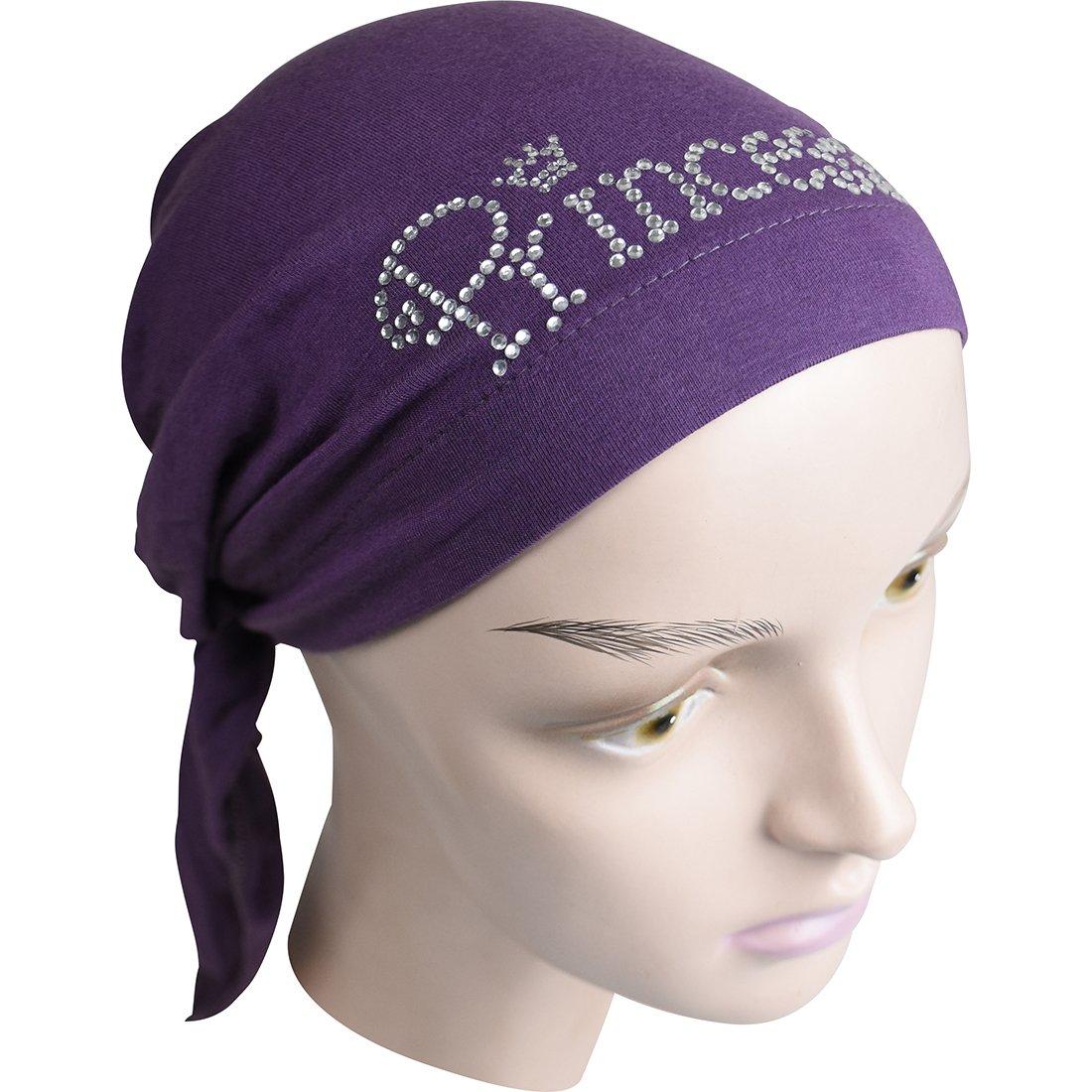 Princess Applique on Child's Pretied Head Scarf Cancer Cap Purple by Landana Headscarves (Image #2)