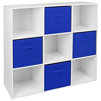 Hartleys White 9 Cube Unit U0026 4 Blue Storage Drawers
