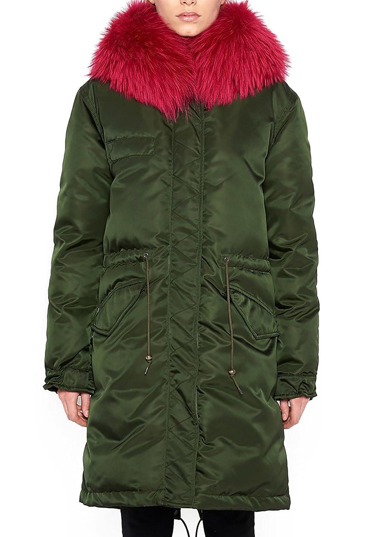 Roiii Women Thicken Winter Coat Hood Parka Long Faux Fur Jacket Outwear 2299 A201701