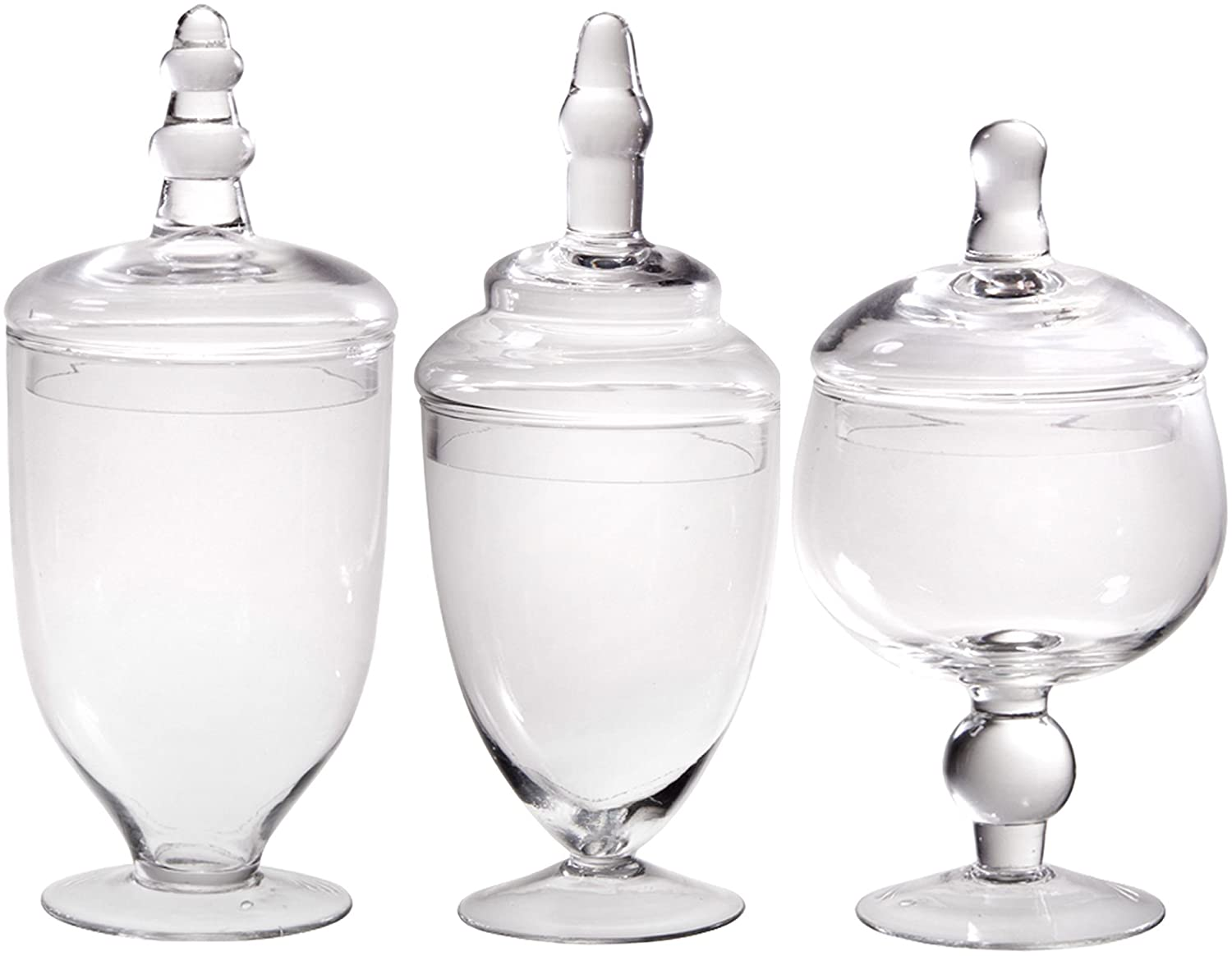 Palais Glassware Clear Glass Apothecary Jars - Set of 3 - Wedding Candy Buffet Containers (Small, Clear)