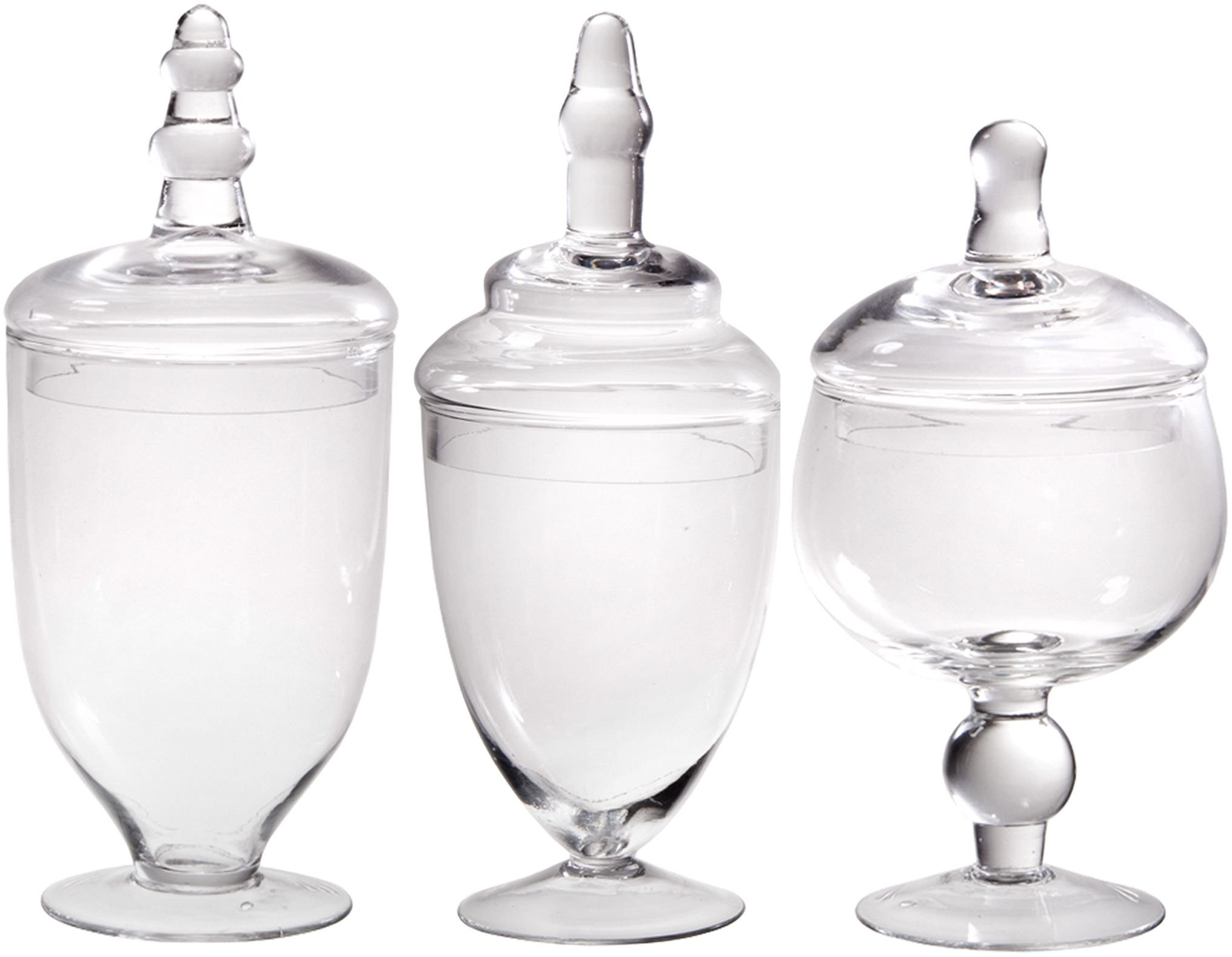 Palais Glassware Clear Glass Apothecary Jars - Set of 3 - Wedding Candy Buffet Containers (Small, Clear) by Palais Glassware