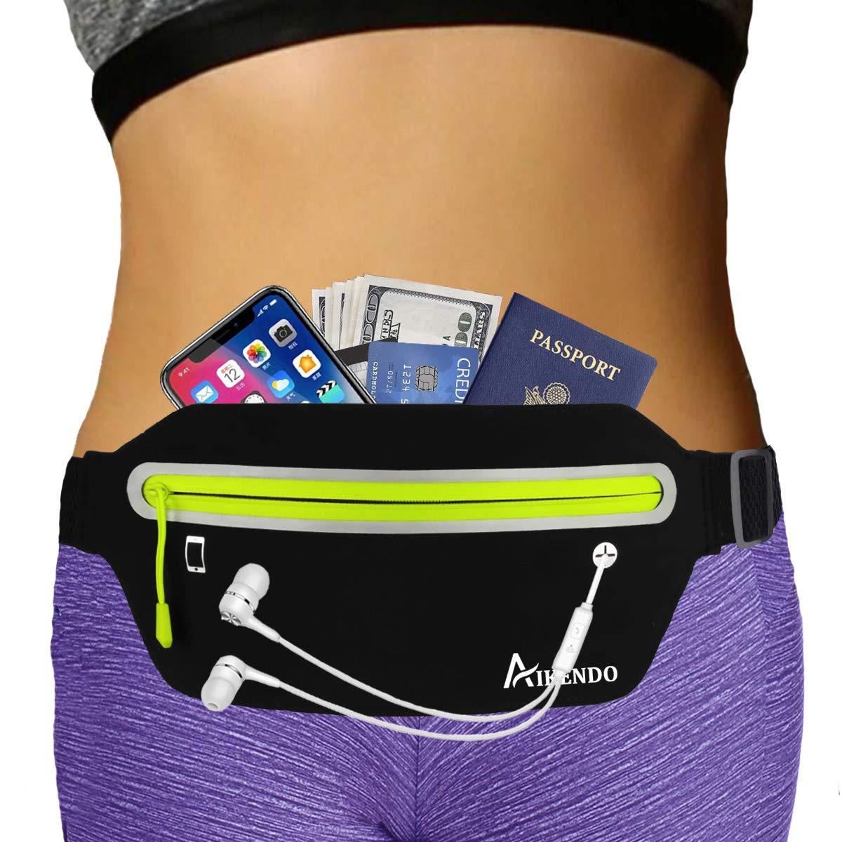 AIKENDO Slim Running Belt Fanny Pack,Fitness Workout Exercise Waist Bag Pack for iPhone X XR 7 8 Plus,Ultra Light Runners Belt Travel Money Belt for Men Women