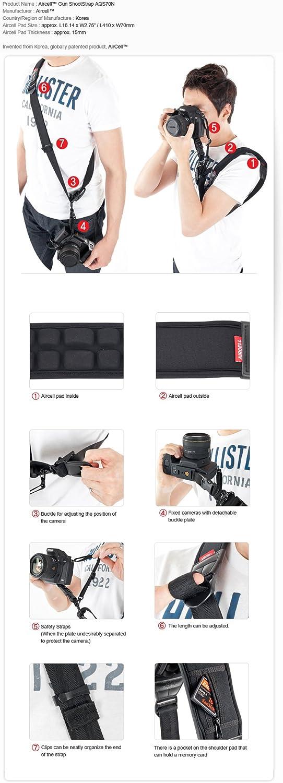 AIRCELL AQS70N Comfort AIR Cushion Non-Slip DSLR SLR RF Mirrorless Camera Fast Rapid Quick Sling Gunshot Neoprene Belt Strap